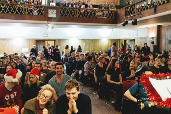 "A Sunday Assembly in London celebrates ""Mythmas."" (Jack Davolio)"