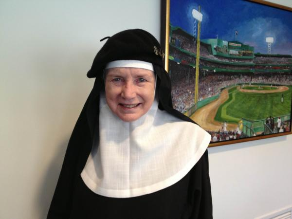 Mother Dolores Hart at Here & Now studios. (Rachel Rohr/Here & Now)