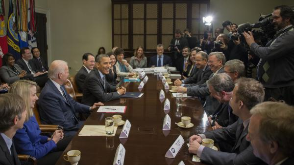 President Obama and Vice President Biden met with tech executives at the White House on Wednesday.