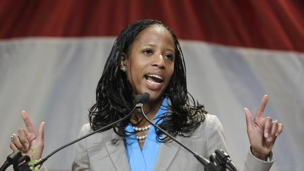 Saratoga Springs Mayor Mia Love addresses the Utah Republican Party's annual organizing convention in May.