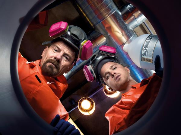 Bryan Cranston (left) stars as chemistry teacher turned meth dealer Walter White, and Aaron Paul plays former student and drug-dealing co-conspirator Jesse Pinkman in AMC's <em>Breaking Bad.</em>