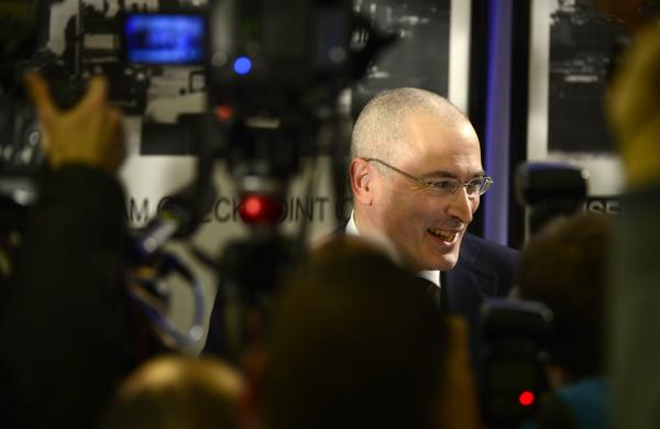 Russian former oil tycoon and Kremlin critic Mikhail Khodorkovsky speaks during a press conference at the Wall Museum at Checkpoint Charlie on Sunday in Berlin.
