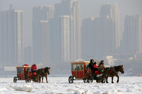 A horse-drawn cart tours the frozen Songhua River in Harbin in China's Heilongjiang province.