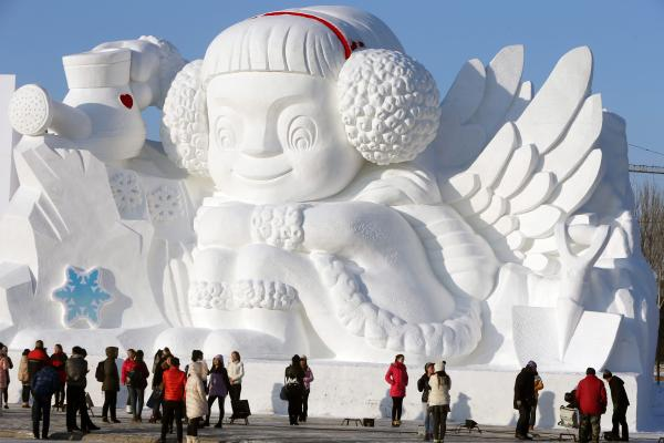 The ice festival lasts through January and February.