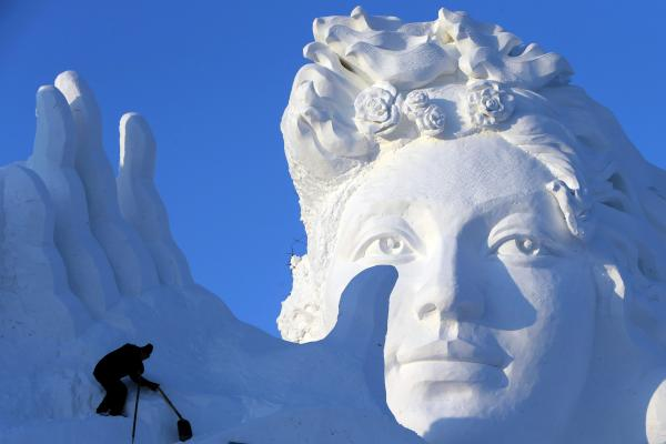 The ice sculpture display is formed annually in Sun Island Park.