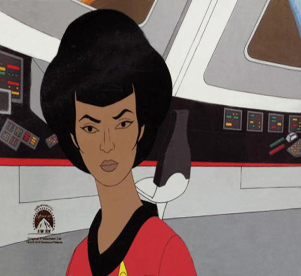 An original production cel for Lt. Uhura of <em>Star Trek</em>.