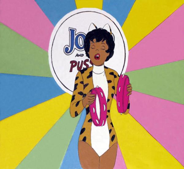 "An original production cel for Valerie of <em>Josie and the Pussycats.</em> In 2001, the franchise was briefly revived <a href=""http://www.imdb.com/title/tt0236348/"">via a full-length film</a> that featured Rosario Dawson as Valerie."