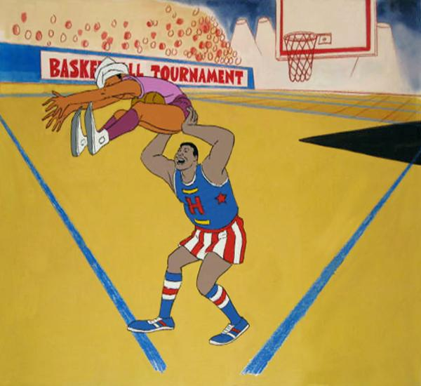 An original production cel for<em> Harlem Globetrotters.</em>