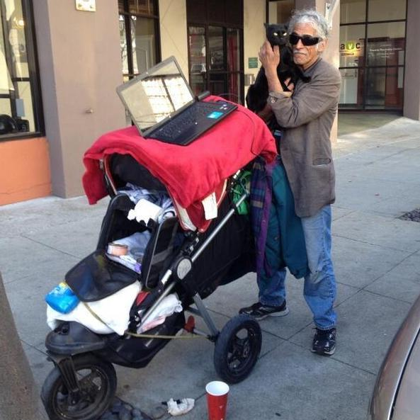 This San Francisco man doesn't have a home, but he does have a laptop.