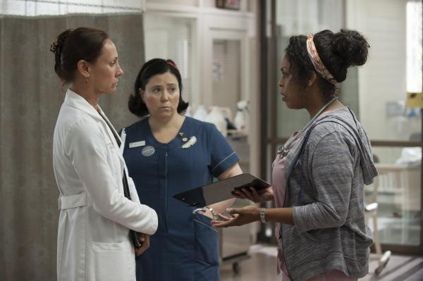 Laurie Metcalf (left) plays the role of Dr. Jenna James, with Alex Borstein as head nurse Dawn Forchette and Niecy Nash as Didi Ortley, the new nurse on the ward.