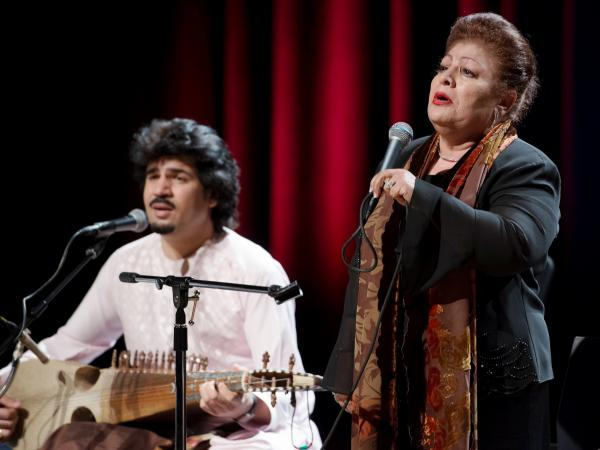 <em>Rubab </em>master Homayoun Sakhi and legendary Afghan singer Mahwash perform together as members of the group Voices of Afghanistan.