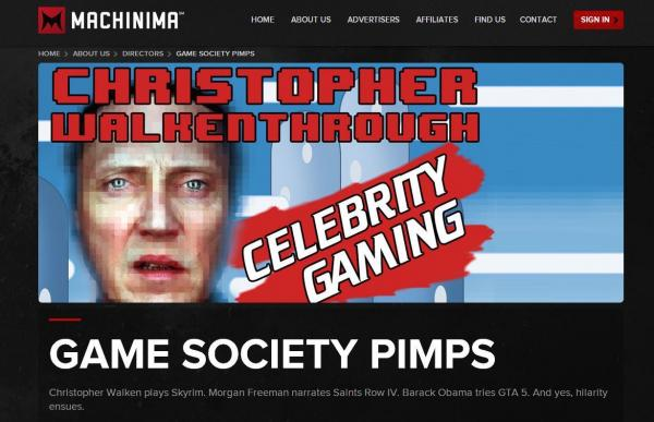 "One of Machinima's signature offerings is a series called <em>Christopher Walkenthrough</em>, in which creator Jason Stephens, in character as actor Christopher Walken, navigates his way through popular video games. You kind of have to <a href=""http://www.youtube.com/playlist?list=PLnMlh8dHsRY-gGzYnBNI8PrIIa1RT9Us7"">see it to understand</a>."