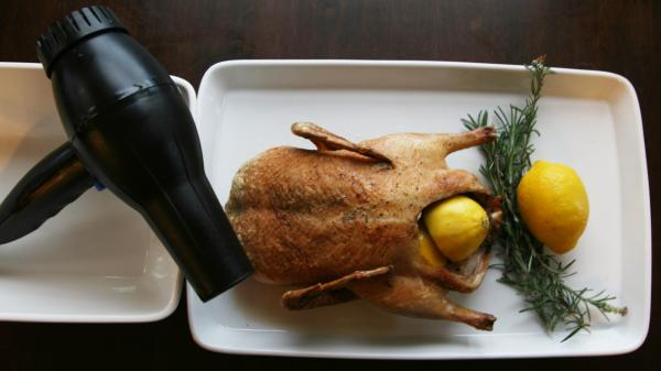 The finished product: We hit the duck with the blow dryer before roasting, as Marcella Hazen recommended. And the treatment did make the skin crispier.