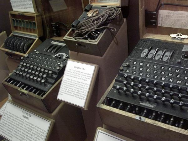 A four-rotor Enigma machine, right, once used by the crews of German U-boats in World War II to send coded messages. Turing helped crack the sophisticated code.