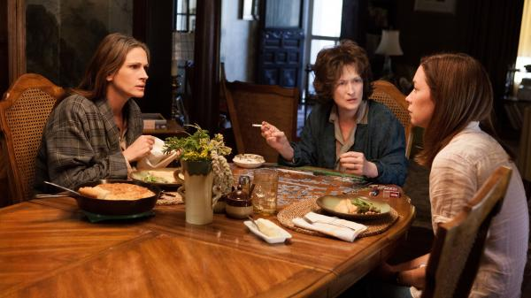 Julia Roberts, Meryl Streep and Julianne Nicholson are three of the warring Weston women in a blistering film adaptation of the Pulitzer Prize-winning play <em>August: Osage County.</em>
