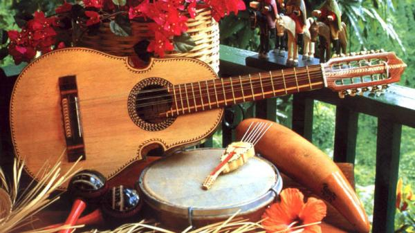 Some of the traditional instruments played during Puerto Rican caroling.