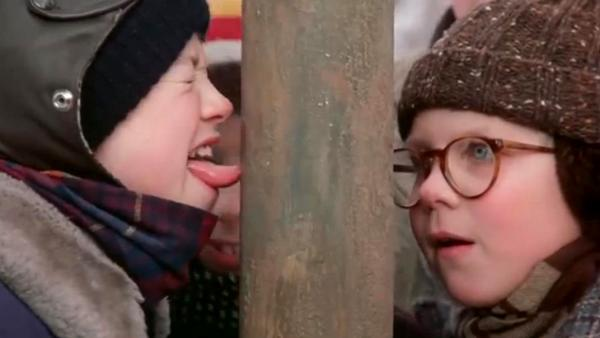 "Flick's tongue gets stuck to a pole after agreeing to a triple-dog-dare. (Screenshot/""A Christmas Story"")"