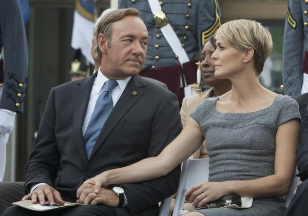 "Kevin Spacey (left) and Robin Wright star in <em>House of Cards, </em>directed by David Fincher. The Netflix series, which follows a Machiavellian politician, is an adaptation of a BBC series of the same name. <a href=""http://www.npr.org/2013/01/31/170465471/spacey-and-fincher-make-a-house-of-cards"">Hear an interview with Spacey and Fincher</a>."