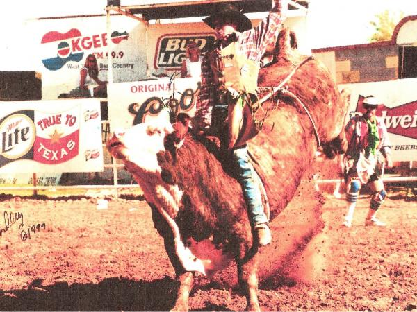 Ryan Bingham rides a bull at a Texas rodeo in 1999.