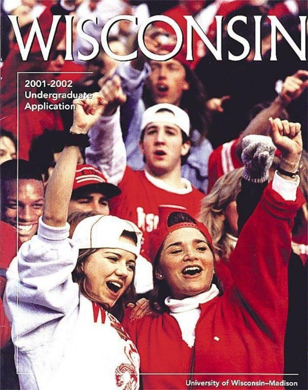 In an effort to show diversity, University of Wisconsin officials added the face of a black student, Diallo Shabazz, to a file photo for the cover of the school's 2000 application booklet.