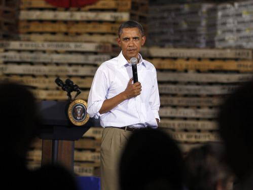 President Obama speaks Wednesday at a town hall-style meeting at Wyffels Hybrids Inc. in Atkinson, Ill. He is expected to unveil plans to stimulate the economy after Labor Day.