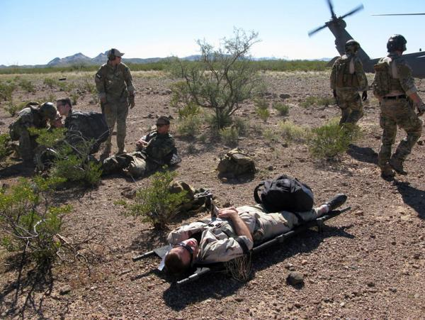 <p>In southern Arizona, troops take part in a large-scale search-and-rescue exercise called Operation Angel Thunder.</p>