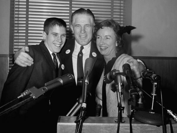 George Romney, center, with his wife, Lenore, and teenage son Mitt, in 1962.