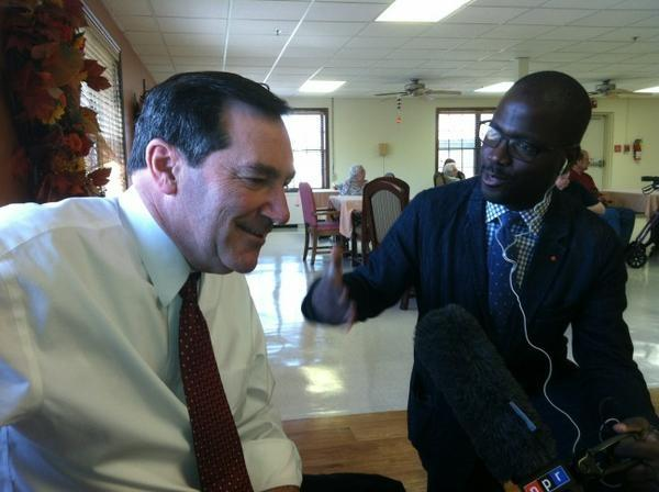 Reporter Alan Greenblatt tweeted this image of National Desk Reporter Sonari Glinton interviewing Indiana Senate candidate Joe Donnelly.