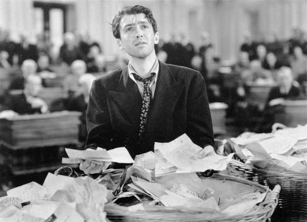 Jimmy Stewart in a scene from the 1939 film <em>Mr. Smith Goes to Washington</em>.