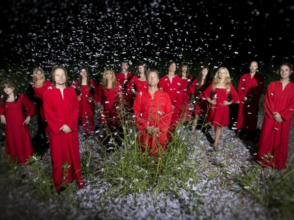 The Polyphonic Spree, under a shower of confetti.
