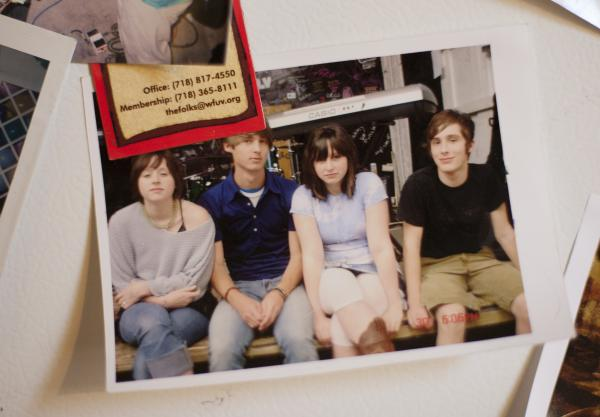 The Ackleys circa 2005, in a photo that now hangs on the Crutchfield sisters' refrigerator. Left to right: Allison Crutchfield, Michael McClellan, Katie Crutchfield, Carter Wilson.