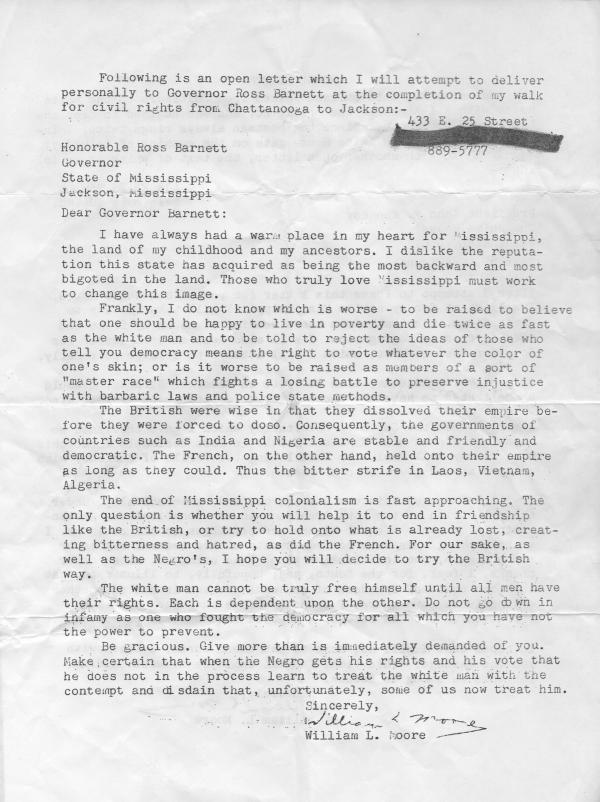 "Moore intended to deliver a letter demanding the end of segregation, to Mississippi Gov. Ross Barnett. <a href=""http://www.npr.org/assets/news/2013/WilliamMooreletter.pdf"">Click here</a> to read the letter in its entirety."