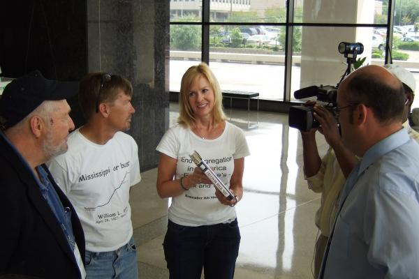 In 2008, Ellen Johnson (center) completed Moore's march, walking from the spot he was killed in Alabama to the Mississippi governor's office in Jackson.