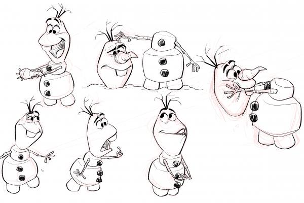 Disney's animators took playful advantage of the unique physical qualities that might affect — maybe even afflict — a sentient snowman, reconfiguring his body at whim.