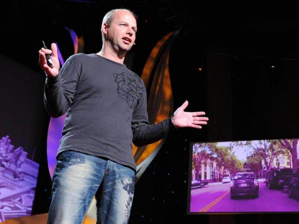 """I'm really looking forward to a time when generations after us look back at us and say how ridiculous it was that humans were driving cars"" — Sebastian Thrun"