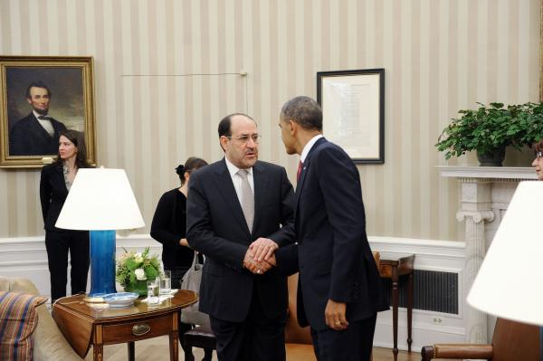 Iraqi Prime Minister Nouri Al-Maliki meets with U.S. President Barack Obama on November 1, 2013 in Washington, DC. Al-Maliki requested additional U.S. assistance in battling a rising wave of violence in Iraq. The U.S. subsequently sent arms and surveillance equipment to Iraq. (Olivier Douliery/Getty Images)