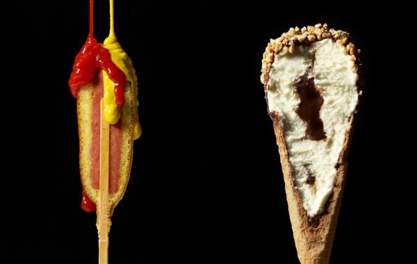 "A hotdog and ice cream cone from Beth Galton and Charlotte Omnes' ""Cut Food"" series."