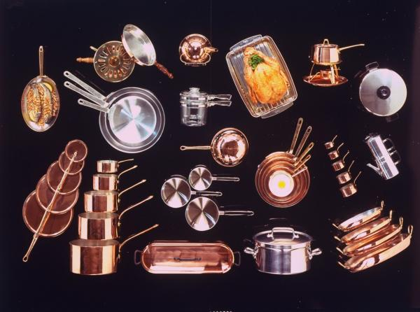 An array of pots and pans used for cooking, 1968