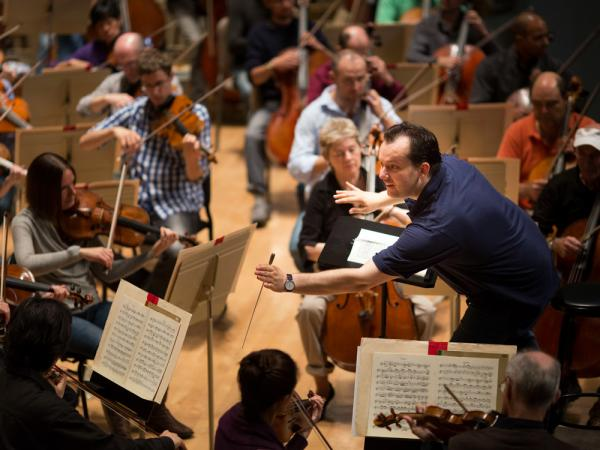 Conductor Andris Nelsons at his first rehearsal with the Boston Symphony Orchestra after being named its music director designate.