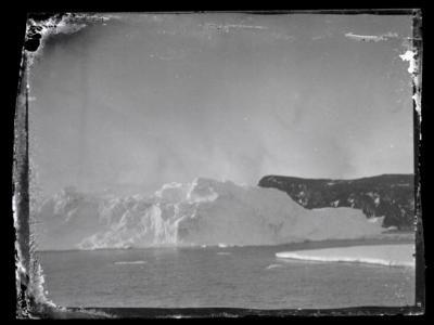 Recently recovered cellulose photos recovered by the New Zealand Antarctic Heritage Trust. Pictured, Iceberg and land, Ross Island. (New Zealand Antarctic Heritage Trust)