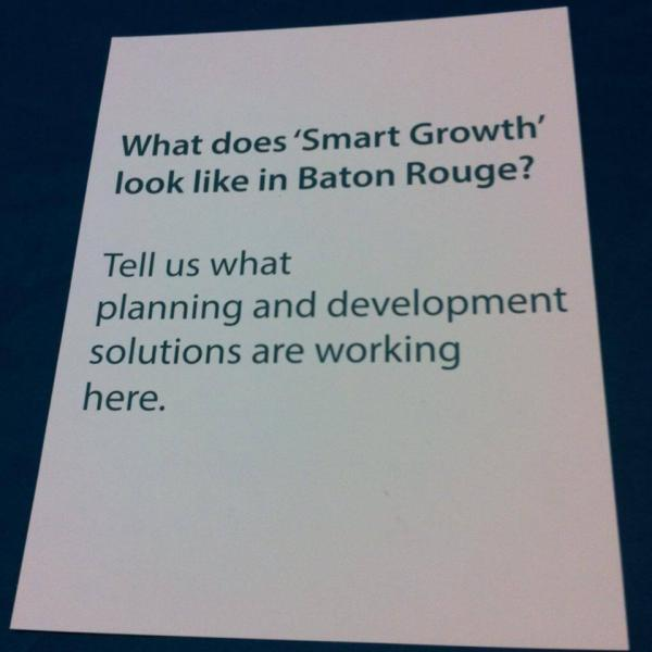 WRKF asked people at the Louisiana Smart Growth Summit this question. Credit Amy Jeffries / WRKF WRKF asked people at the Louisiana Smart Growth Summit this question.