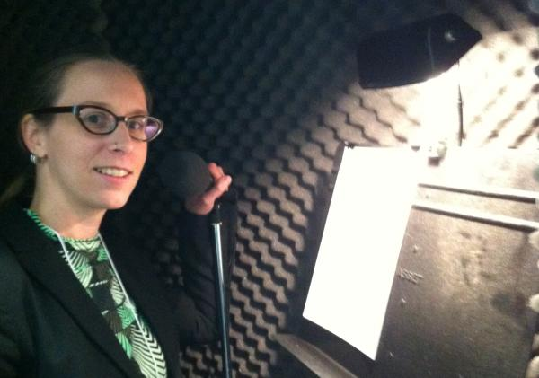 WRKF's Amy Jeffries demonsrates the Recording Booth.