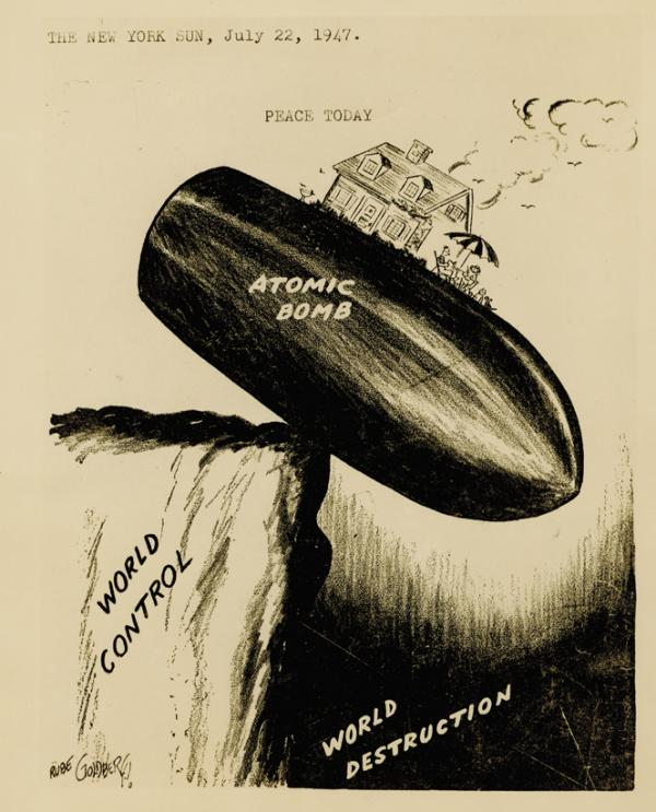 Goldberg won the 1948 Pulitzer Prize for editorial cartooning with this cartoon, published in <em>The New York Sun</em>.