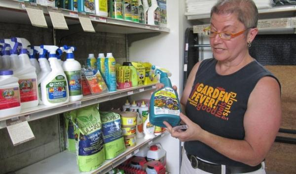Lori Vollmer, owner of Garden Fever nursery in Portland, removed pesticides containing neonicotinoid chemicals from her store shelves after an estimated 50,000 bumblebees were killed in Wilsonville.