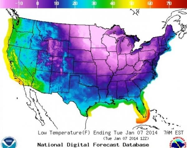 If you're in a blue or purple zone, you're going to be cold tonight.
