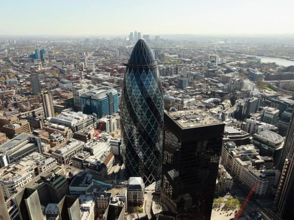 """The Gherkin,"" which is formally known as 30 St. Mary Axe, was completed in 2003."
