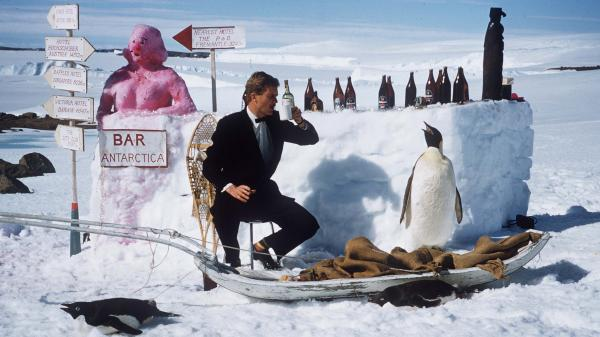 Morrie Fisher drinks at Mawson Station, an Australian base in East Antarctica, in 1957. Apparently, these sorts of amusements tend to pop up when you're bored in a barren landscape.