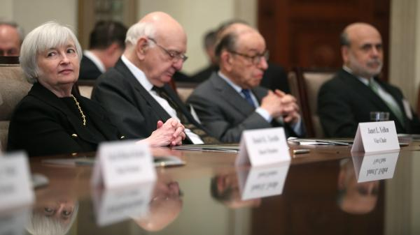 The Senate has approved Janet Yellen as the next head of the Federal Reserve. At a ceremony commemorating the Fed's centennial last month, Yellen sat with (from left-to-right) former chairmen Paul Volker and Alan Greenspan, and current Fed leader Ben Bernanke.