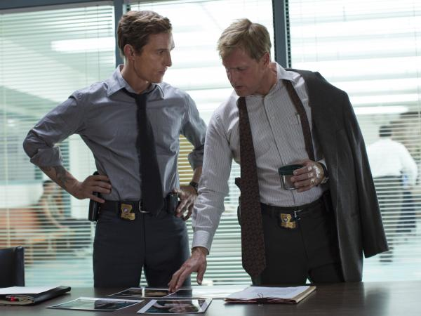 Matthew McConaughey (left) and Woody Harrelson play partner detectives Rustin Cohle and Martin Hart in HBO's <em>True Detective</em>.<strong></strong>