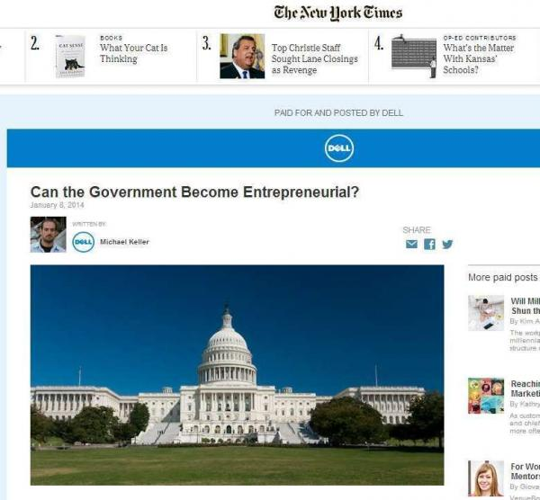New paid content on <em>The New York Times</em> site runs in a similar font as the paper's editorial material, but includes a banner indicating that it's paid for by a corporate sponsor.